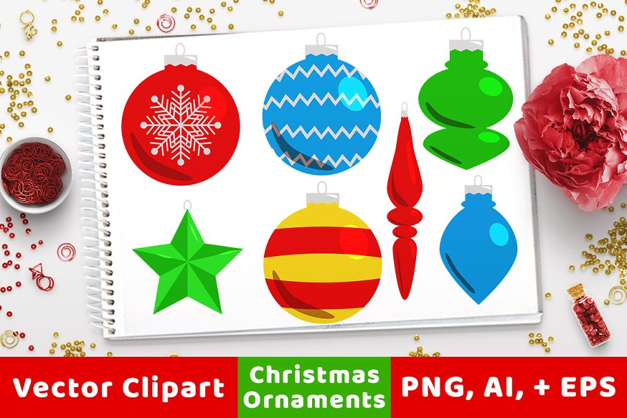 40 Christmas Ornaments Clipart.