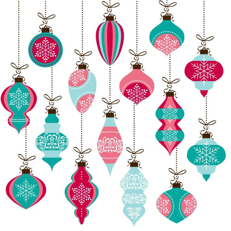 Christmas ornaments clipart, christmas clipart, pink and blue christmas,  christmas baubles, xmas clipart, xmas ornaments, christmas graphics.