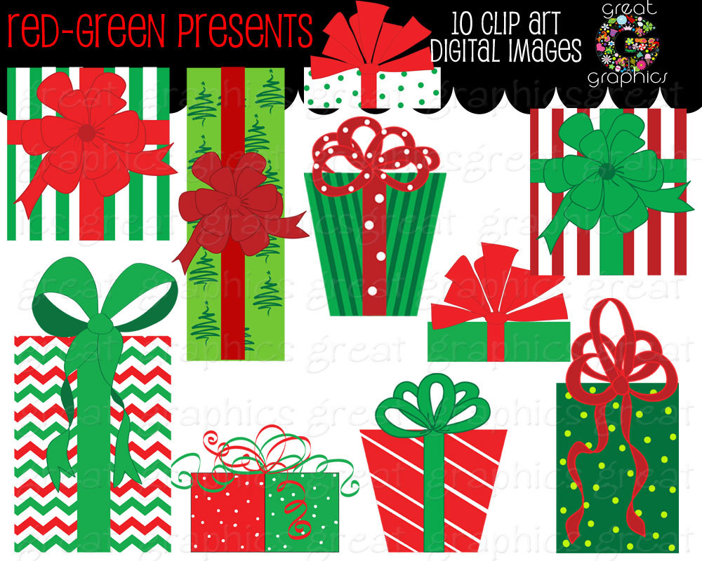 Christmas Present Clip Art Red and Green Christmas Present.