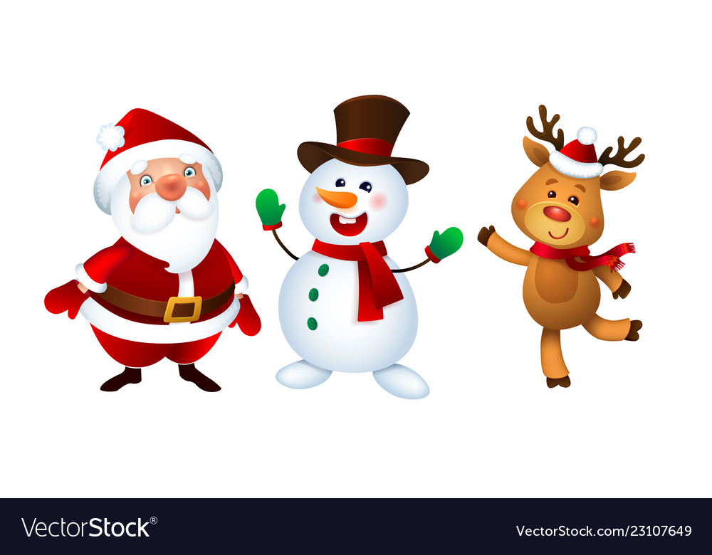 Merry christmas santa claus snowman and reindeer.