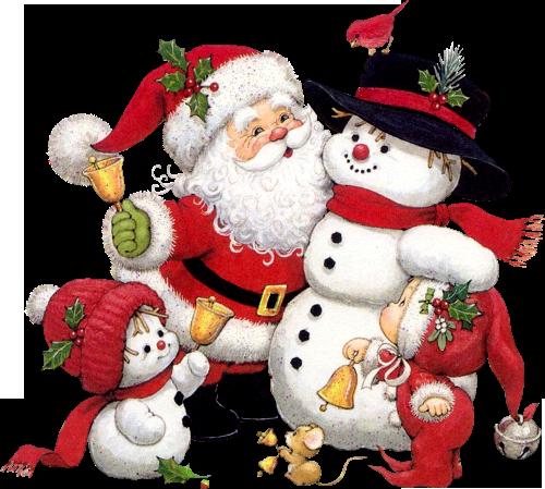 Cute Snowman Santa and Kid Clipart.