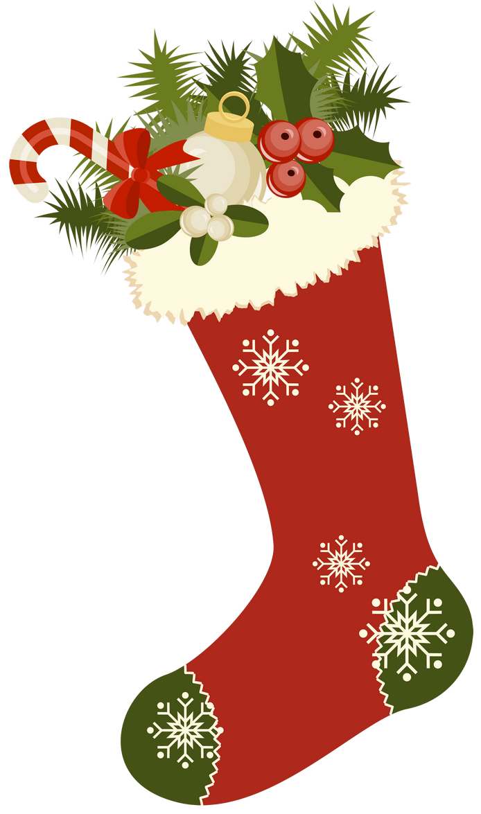 Vintage Christmas Stockings Clipart.