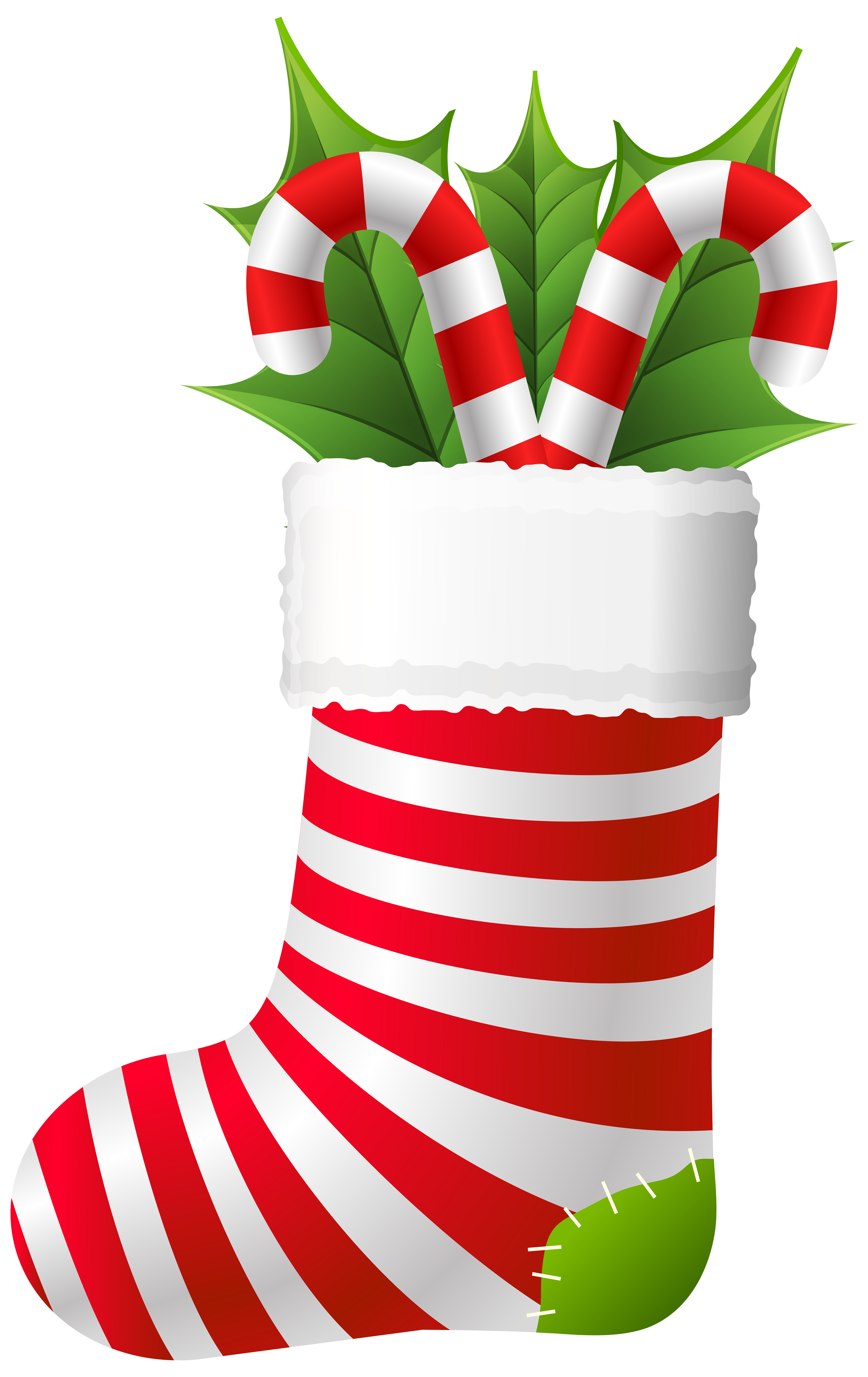 Christmas Stocking with Candy Canes PNG Clip Art.