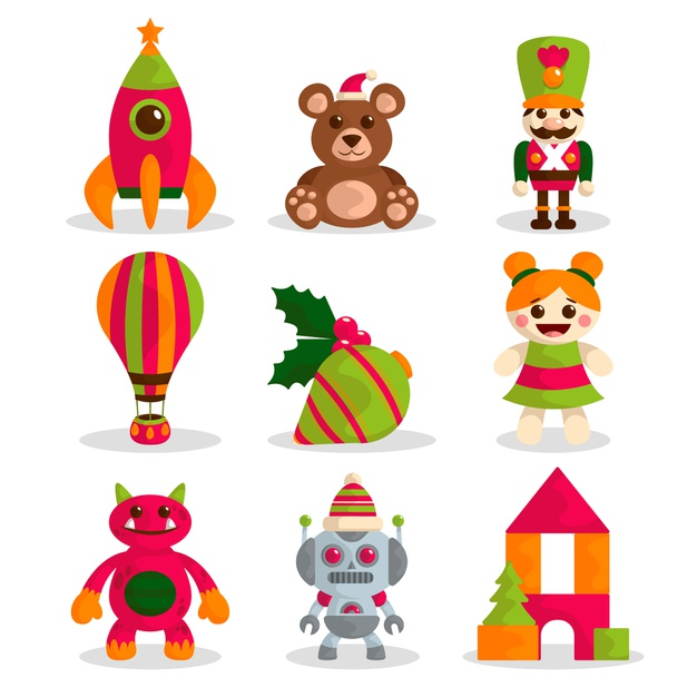 Hand drawn christmas toy collection Vector.