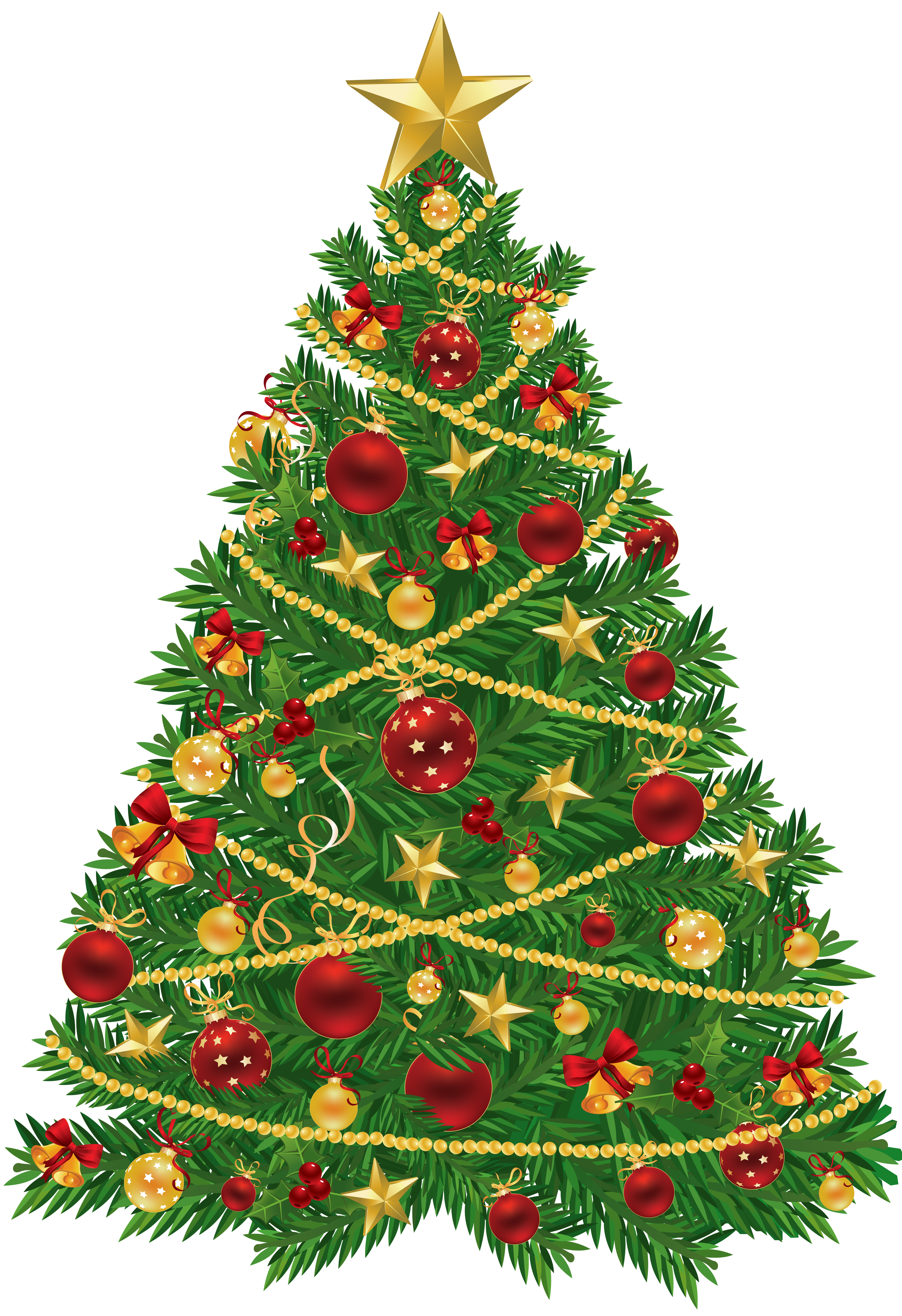 Large Transparent Christmas Tree with Red and Gold Ornaments Clipart.