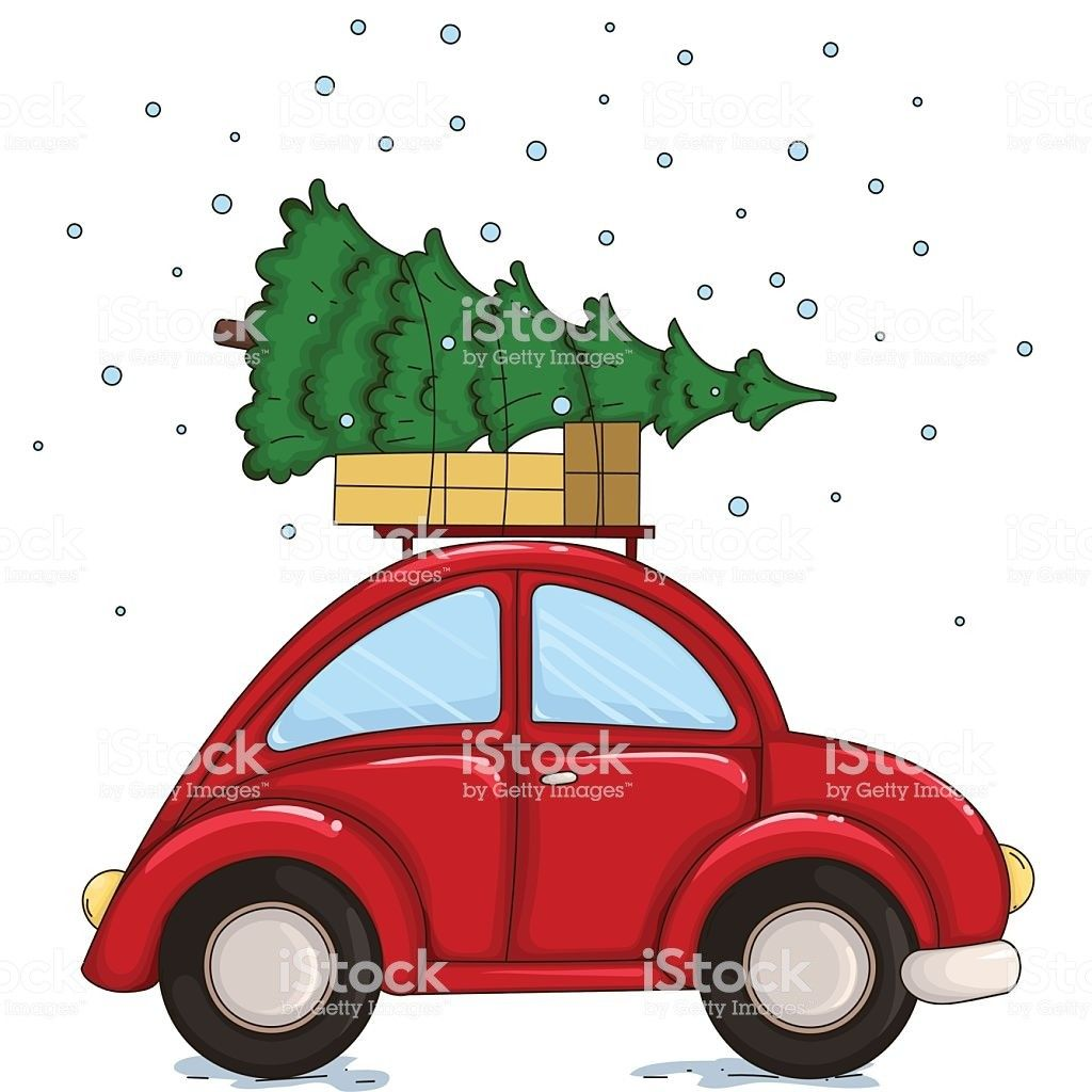 Red Car Driven By A Christmas Tree And Presents Vector.