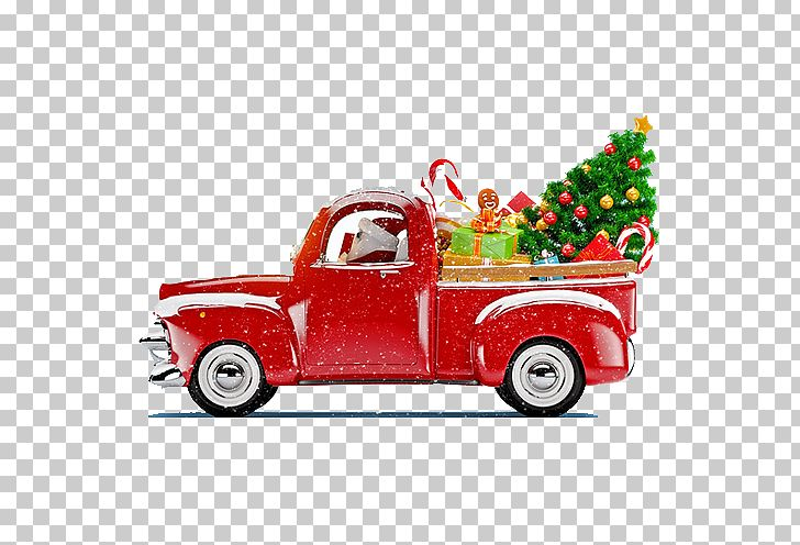 Santa Claus Christmas Tree Christmas Decoration Truck PNG.