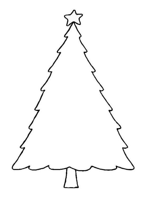 Blank Christmas Tree Outline Printable Template Clip Art.