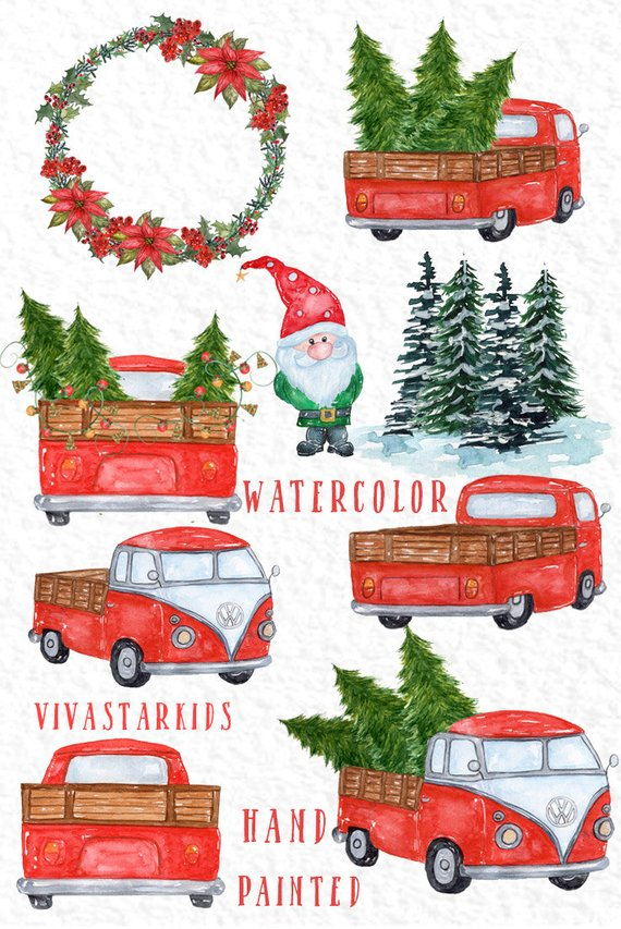 watercolor Christmas Cars clipart: \