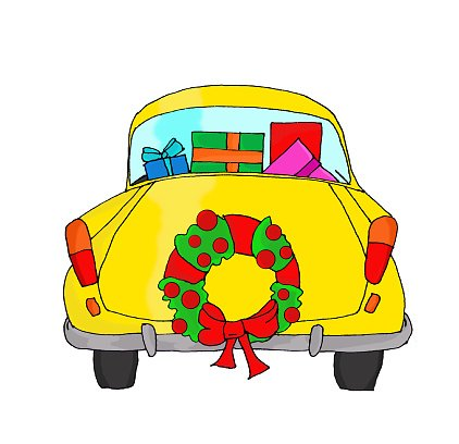 Yellow car with Christmas wreath Clipart Image.