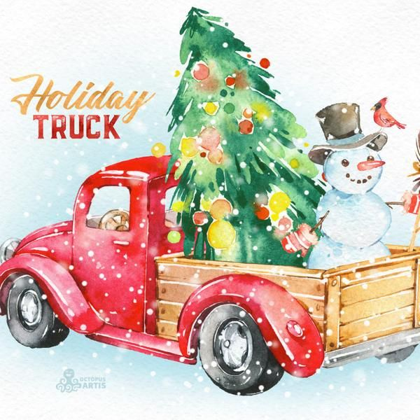 Christmas Cars 3. Watercolor holiday clipart, vintage, retro.