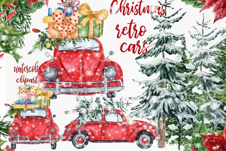 Watercolor Christmas Cars Clipart,Christmas Wreath, Snow Png.