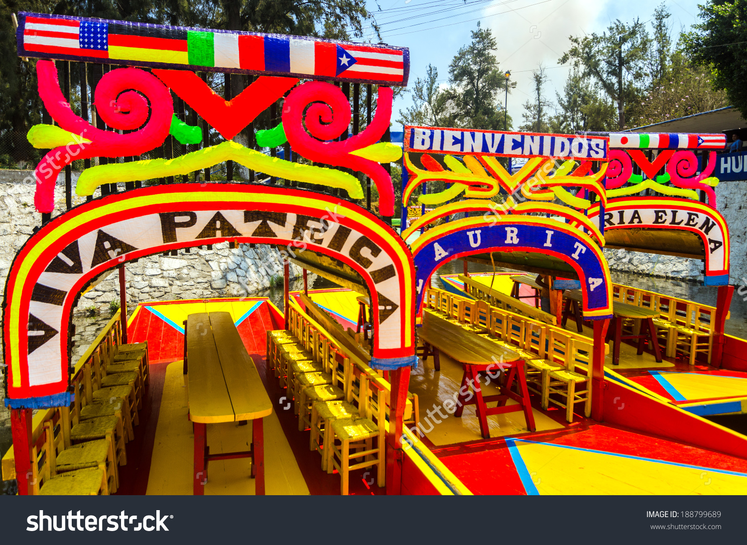 Colorful Boats On Ancient Aztec Canals Stock Photo 188799689.