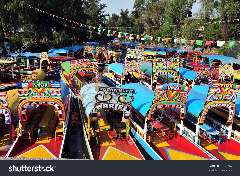 Colourful Mexican Gondolas Xochimilcos Floating Gardens Stock.