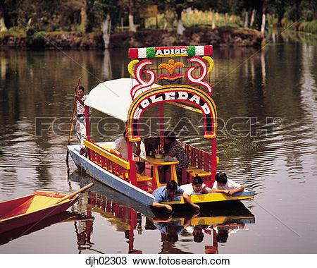 Stock Photo of Flower boat at Xochimilco, Mexico City, Mexico.