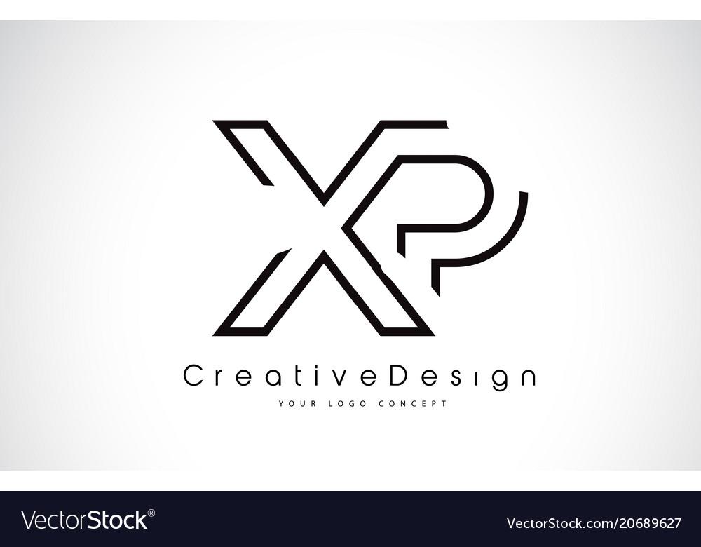 Xp x p letter logo design in black colors.