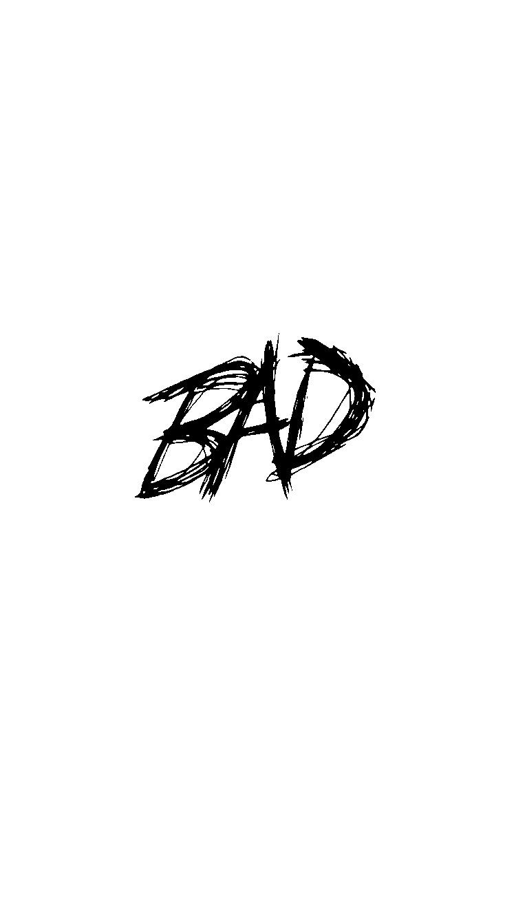 "Inverted colour of the ""BAD"" logo on X\'s IG story : XXXTENTACION."