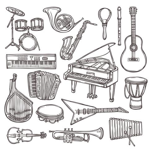 Musical instruments sketch icon.