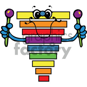 cartoon xylophone vector art clipart. Royalty.