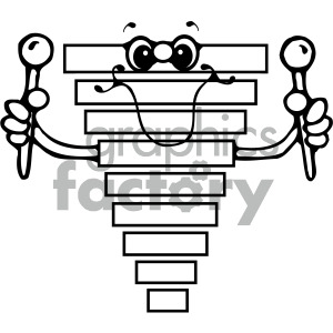 black and white xylophone clipart. Royalty.