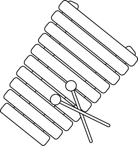 Black and White Xylophone Clip Art.
