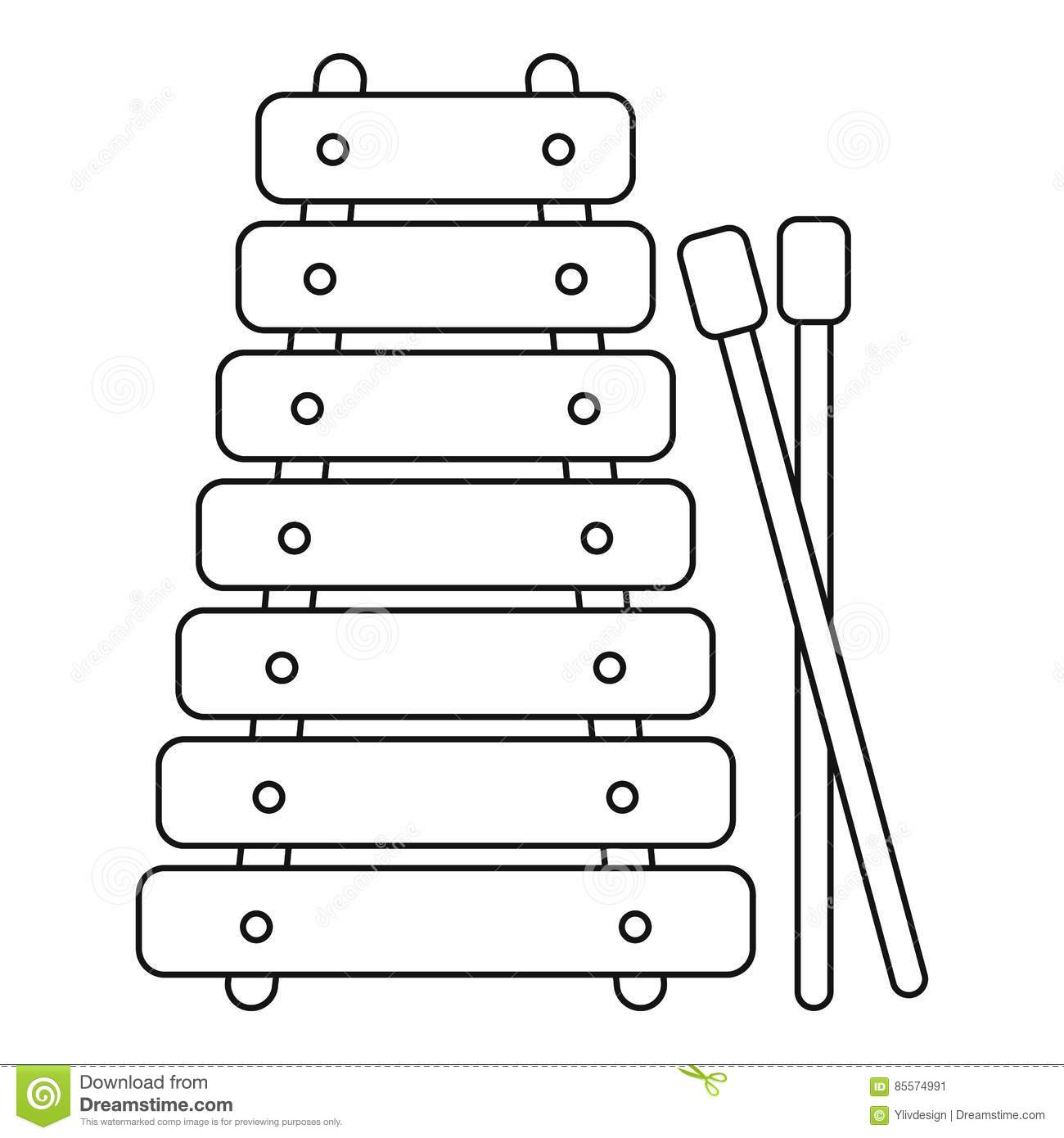 Line Art Xylophone : Xylophone outline clipart clipground