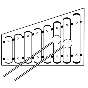 Xylophone (colourful) clipart, cliparts of Xylophone (colourful.
