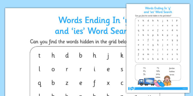 Words Ending in y and ies Word Search (teacher made).