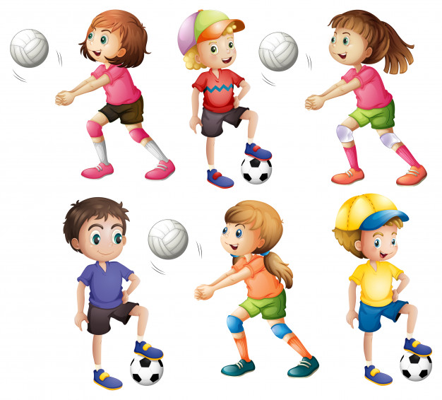 Kids playing volleyball and football Vector.
