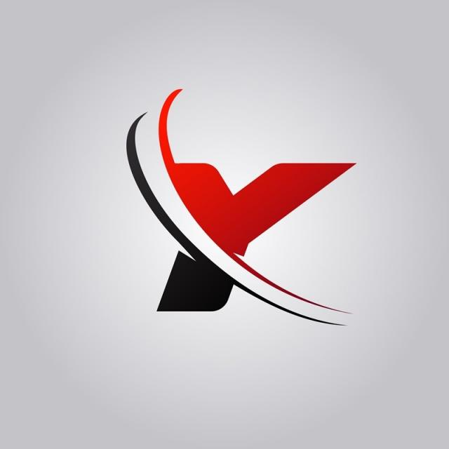 Initial Y Letter Logo With Swoosh Colored Red And Black.