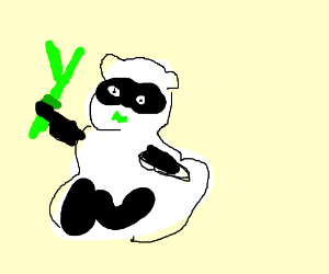 Panda eats two Y shaped bamboo sticks. (drawing by Wircea).
