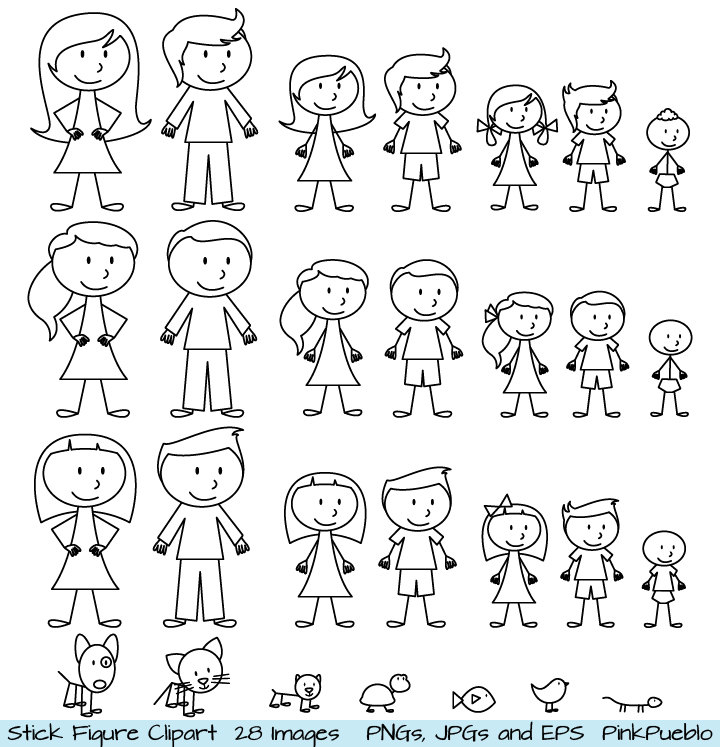 Stick Figure Clipart Clip Art, Stick People Family and Pets.