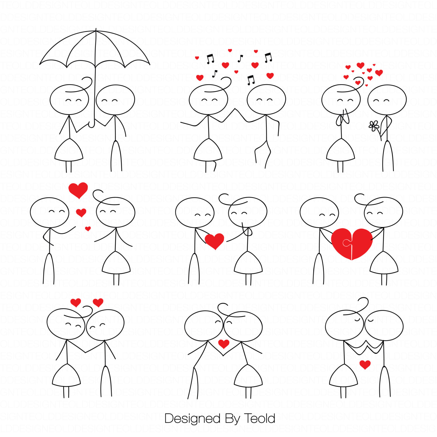 Stick figure people love wedding couple meeting cute family.