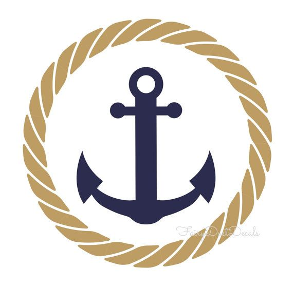 Rope Circle with Anchor wall decal nautical by.