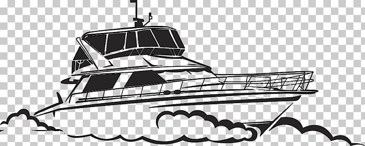 Yacht Drawing Boat Illustration, Black and white hand.