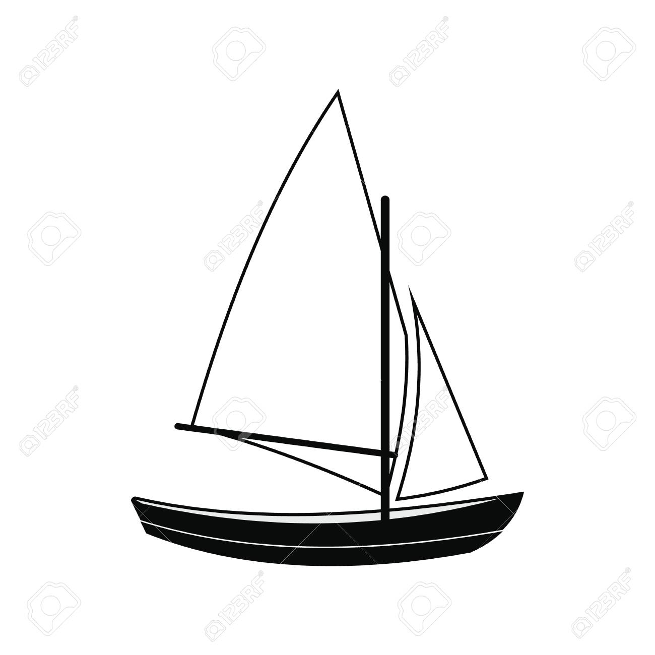 Ship yachts black simple icon isolated on white background.