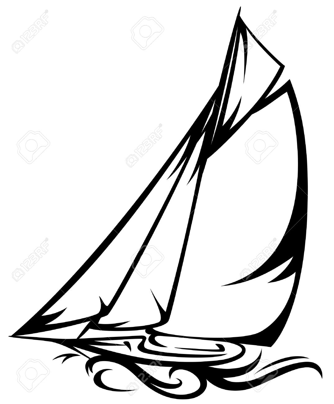sailing yacht illustration.