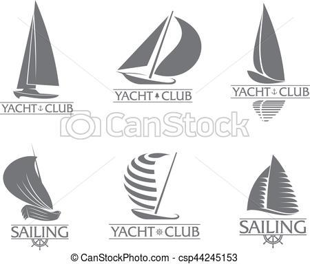 Set of graphic yacht club, sailing sport logo templates.