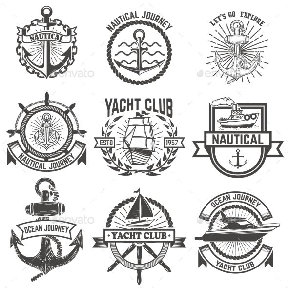 Set of Yacht Club Labels. Nautical.