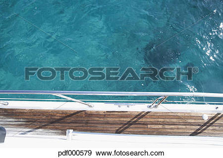 Stock Photograph of Italy, Sardinia, Planks of yacht deck.