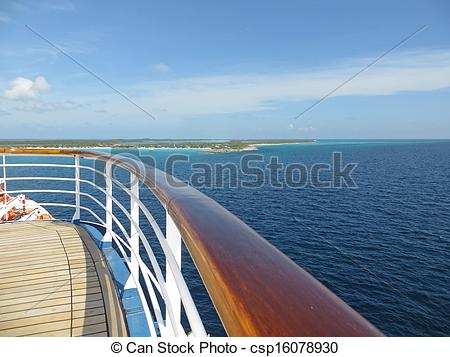 Stock Photos of Deck and rail on a cruise ship.
