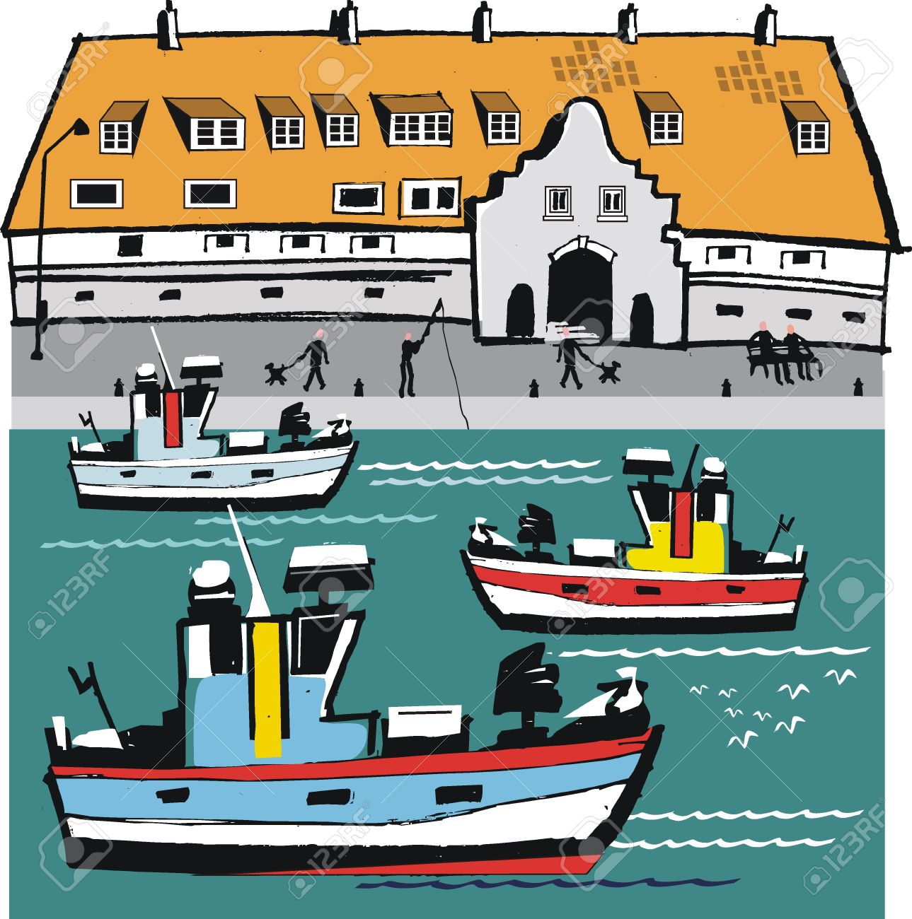 Showing post & media for Cartoon harbor with boats.