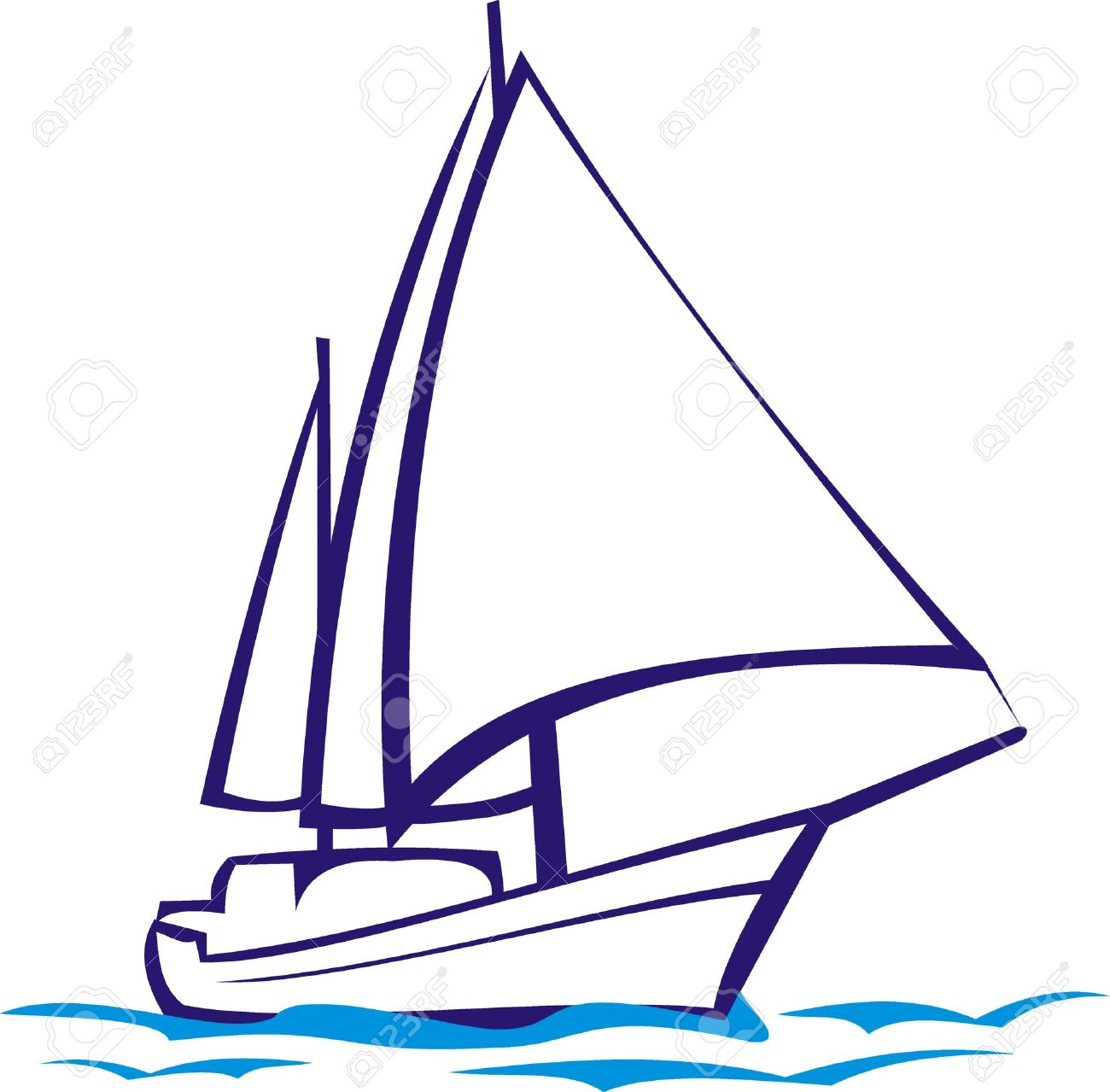 Line Drawing Yacht : Yacht racing clipart clipground