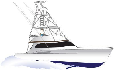 Sportfishing Yacht Vector.