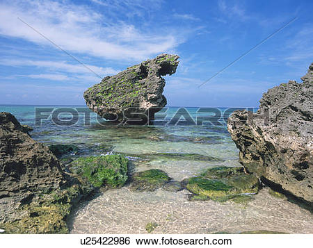 Stock Images of Rock formations on beach, Nagato, Yamaguchi.