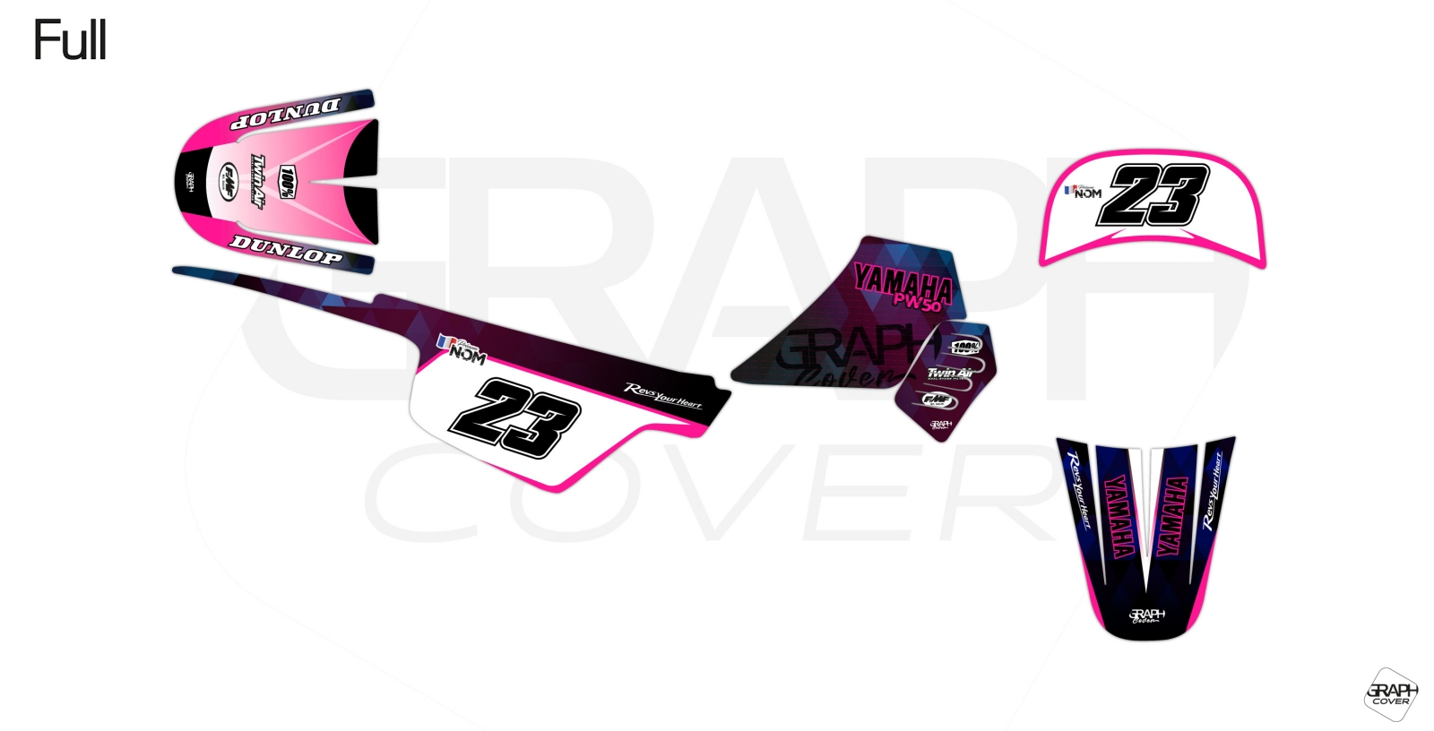 GRAPHIC KIT DIRT BIKE YAMAHA PW 50 MASAI PINK BLUE Full.