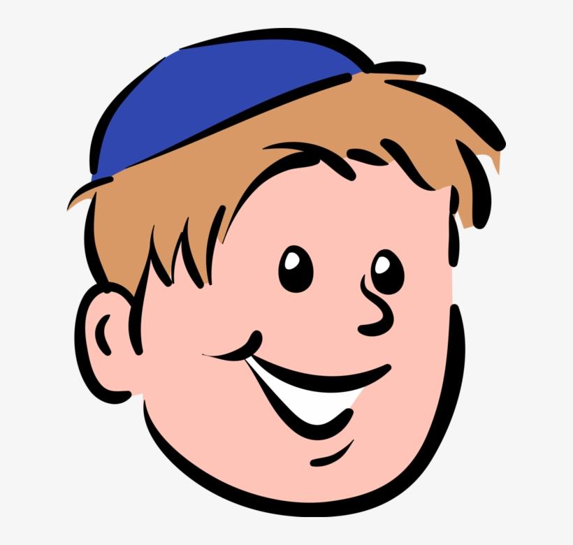 Vector Illustration Of Boy Wears Jewish Kippah Kip.