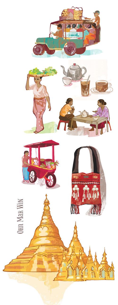 Yangon map — Ohn Mar Win Illustration.