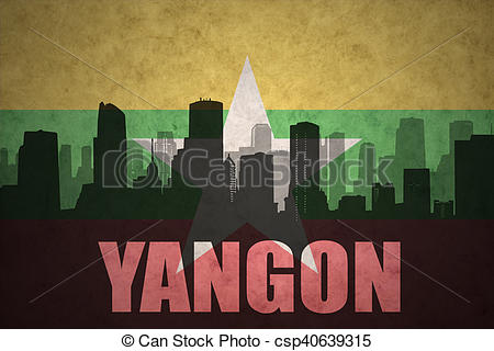 Clipart of abstract silhouette of the city with text Yangon at the.