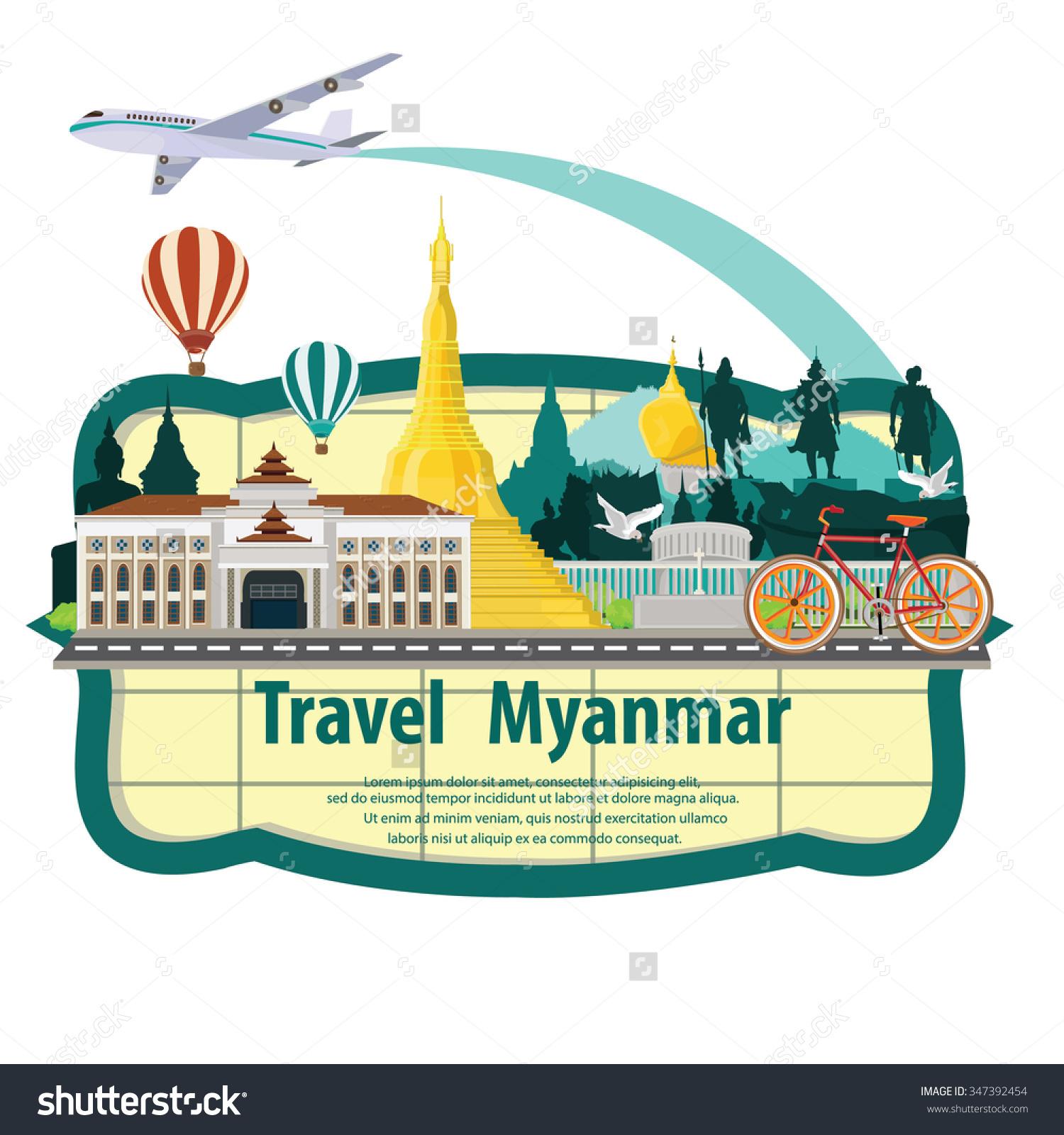 Illustration Travel Around Myanmar Stock Vector 347392454.